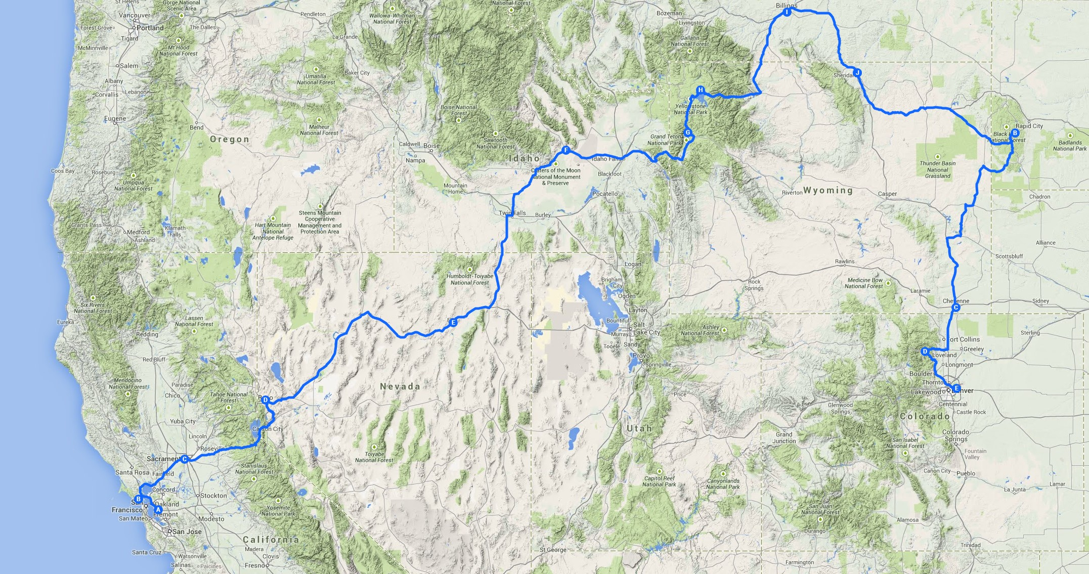 Routekaart San Francisco naar Denver