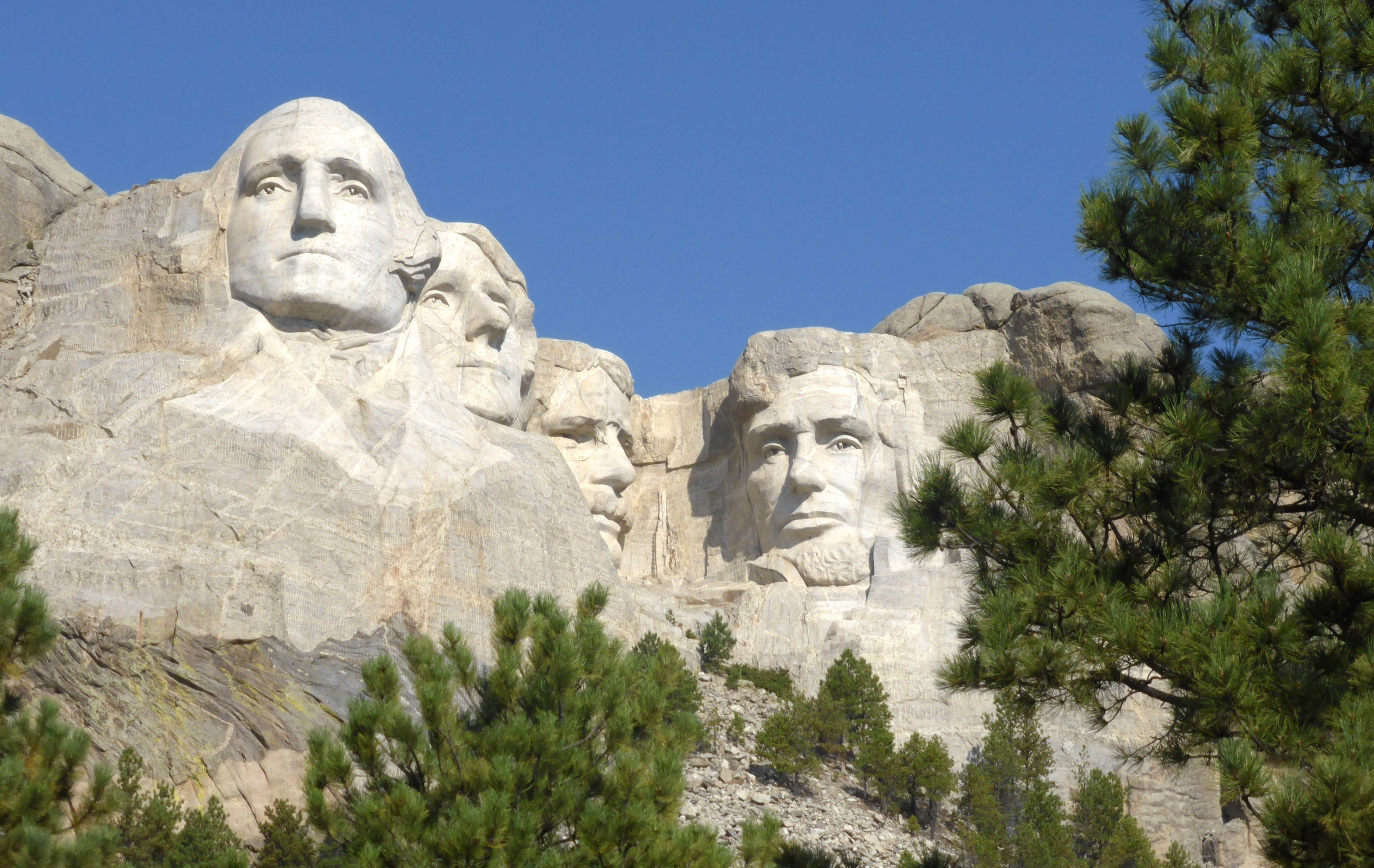 Washington, Franklin, Jefferson en Lincoln